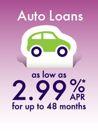 Auto Loans as low as 2.99% APR for up to 48 months